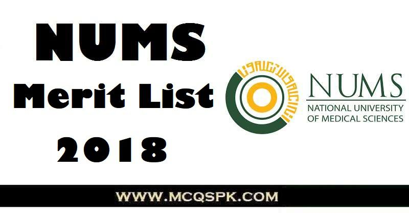 NUMS Merit List 2018